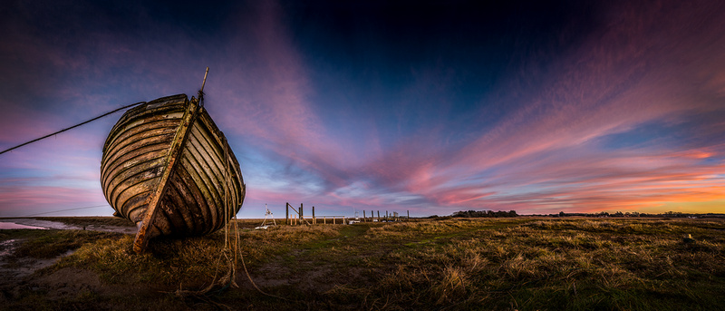 Decaying boat at Thornham harbour at sunset 10in x 23in (approx size) £150 - 10 of 10 left